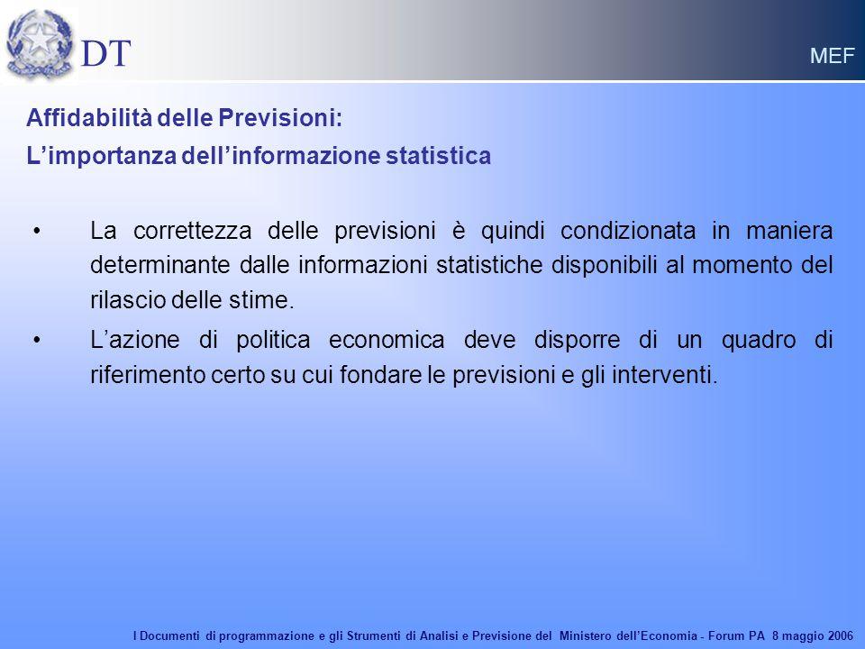 DT MEF La correttezza delle previsioni è quindi condizionata in maniera determinante dalle informazioni statistiche disponibili al momento del rilascio delle stime.