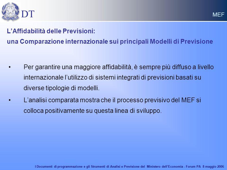 DT MEF Per garantire una maggiore affidabilità, è sempre più diffuso a livello internazionale l'utilizzo di sistemi integrati di previsioni basati su