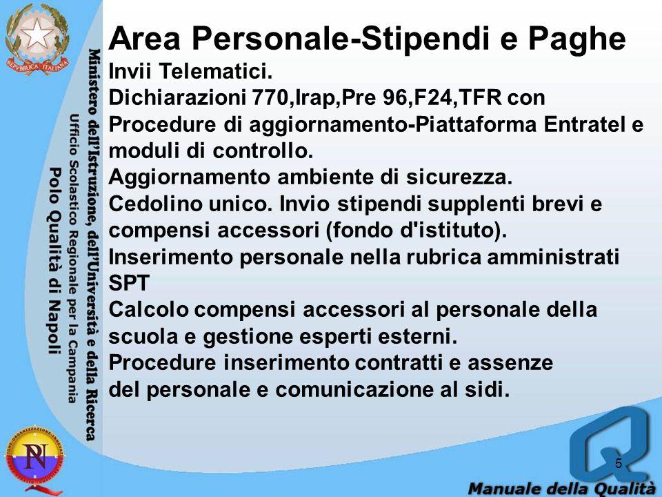 5 Area Personale-Stipendi e Paghe Invii Telematici. Dichiarazioni 770,Irap,Pre 96,F24,TFR con Procedure di aggiornamento-Piattaforma Entratel e moduli