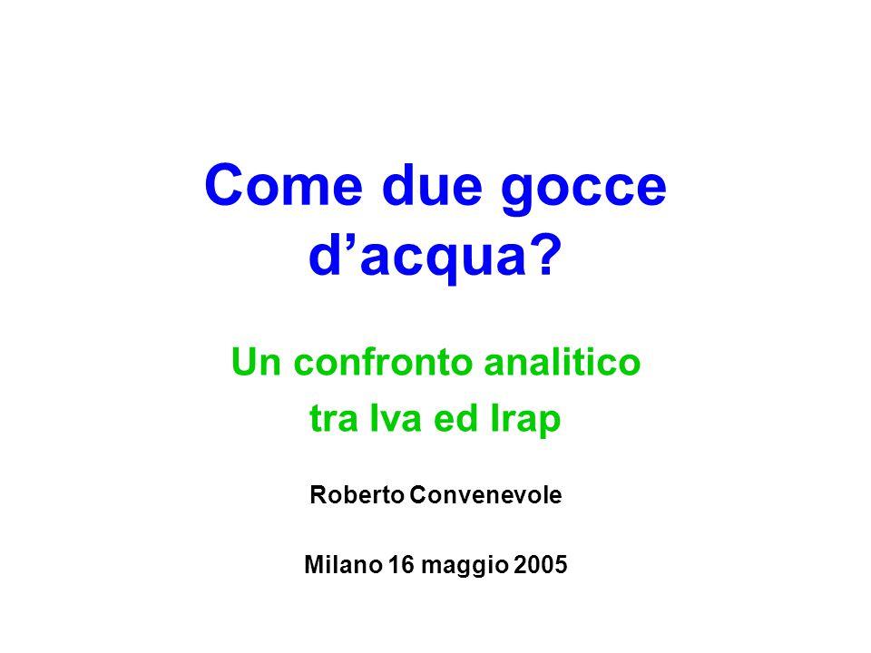 Come due gocce d'acqua? Un confronto analitico tra Iva ed Irap Roberto Convenevole Milano 16 maggio 2005