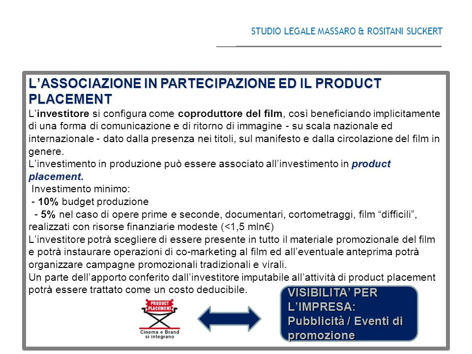 L'ASSOCIAZIONE IN PARTECIPAZIONE ED IL PRODUCT PLACEMENT product placement.