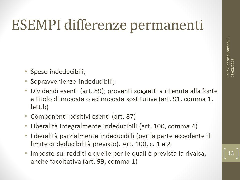 ESEMPI differenze permanenti Spese indeducibili; Sopravvenienze indeducibili; Dividendi esenti (art.