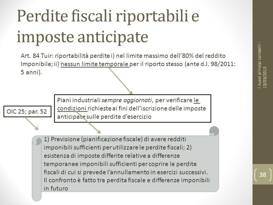 Perdite fiscali riportabili e imposte anticipate 38 I nuovi principi contabili - 13/03/2015 Art.