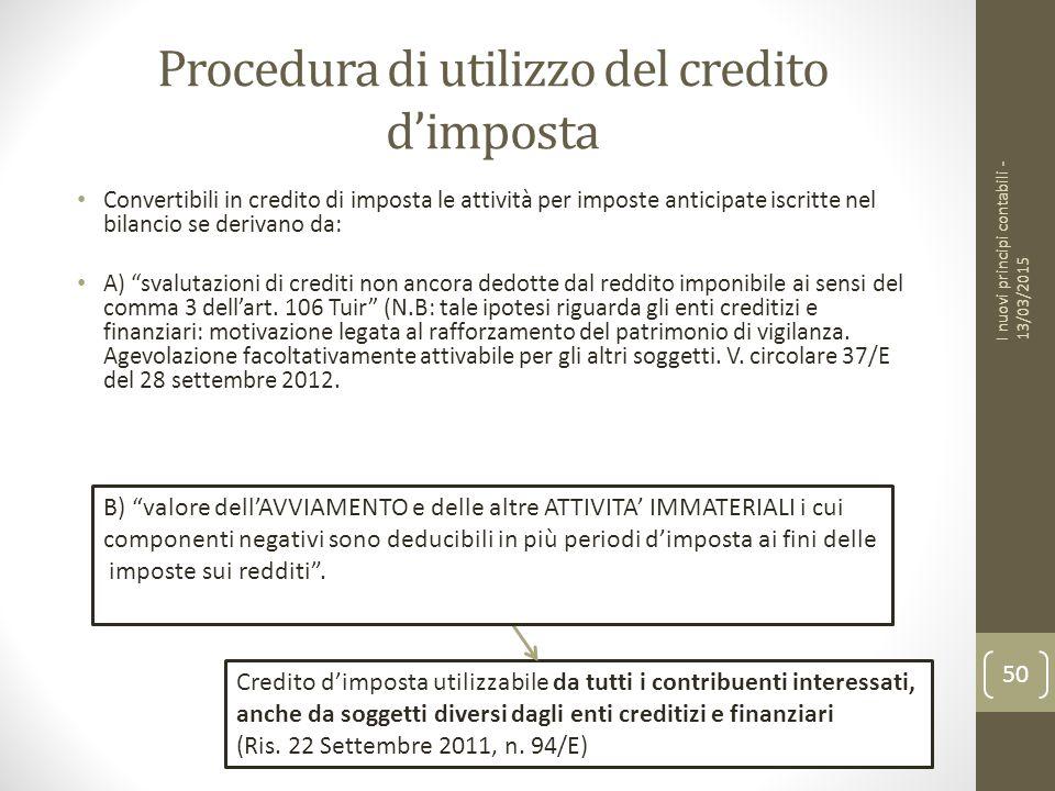 Procedura di utilizzo del credito d'imposta Convertibili in credito di imposta le attività per imposte anticipate iscritte nel bilancio se derivano da: A) svalutazioni di crediti non ancora dedotte dal reddito imponibile ai sensi del comma 3 dell'art.