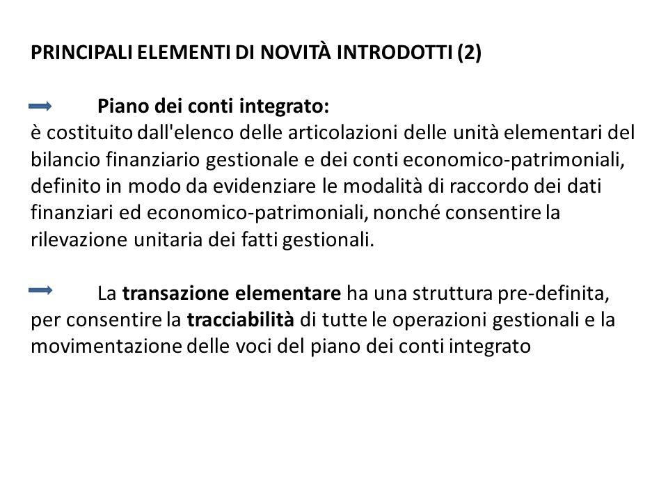 PRINCIPALI ELEMENTI DI NOVITÀ INTRODOTTI (2) Piano dei conti integrato: è costituito dall'elenco delle articolazioni delle unità elementari del bilanc