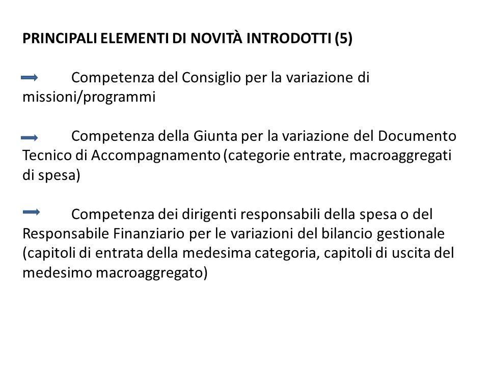 PRINCIPALI ELEMENTI DI NOVITÀ INTRODOTTI (5) Competenza del Consiglio per la variazione di missioni/programmi Competenza della Giunta per la variazion
