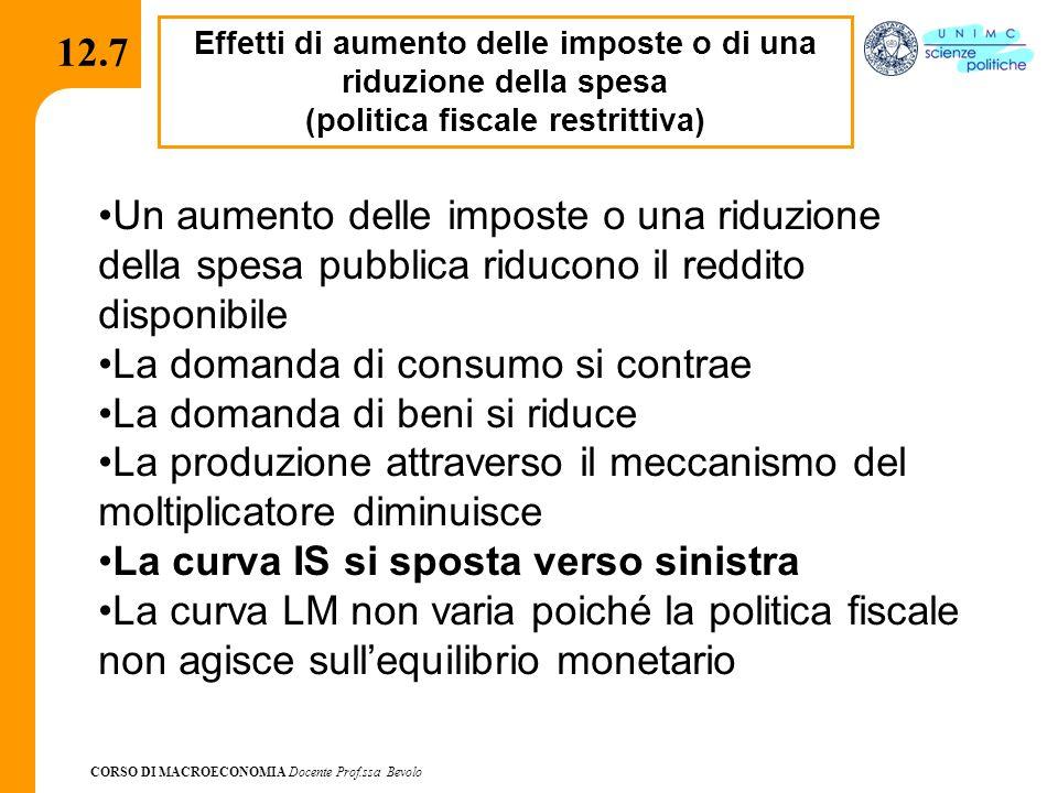 CORSO DI MACROECONOMIA Docente Prof.ssa Bevolo 12.7 Effetti di aumento delle imposte o di una riduzione della spesa (politica fiscale restrittiva) Un