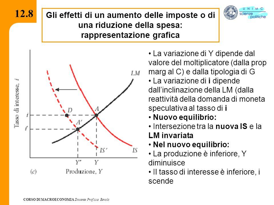 CORSO DI MACROECONOMIA Docente Prof.ssa Bevolo 12.8 Gli effetti di un aumento delle imposte o di una riduzione della spesa: rappresentazione grafica L