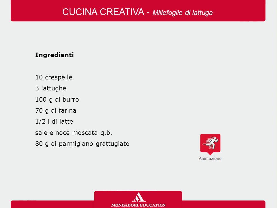 Ingredienti 10 crespelle 3 lattughe 100 g di burro 70 g di farina 1/2 l di latte sale e noce moscata q.b. 80 g di parmigiano grattugiato CUCINA CREATI