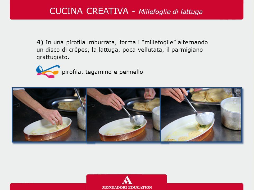 """4) In una pirofila imburrata, forma i """"millefoglie"""" alternando un disco di crêpes, la lattuga, poca vellutata, il parmigiano grattugiato. pirofila, te"""