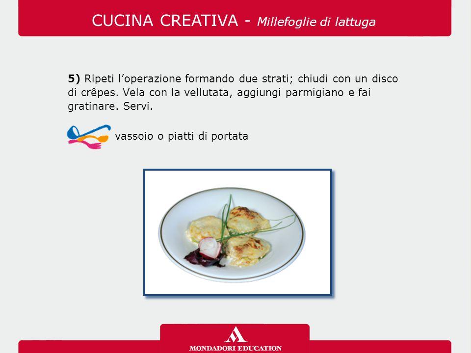 5) Ripeti l'operazione formando due strati; chiudi con un disco di crêpes. Vela con la vellutata, aggiungi parmigiano e fai gratinare. Servi. vassoio
