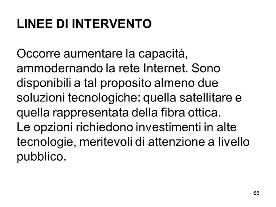 66 LINEE DI INTERVENTO Occorre aumentare la capacità, ammodernando la rete Internet.