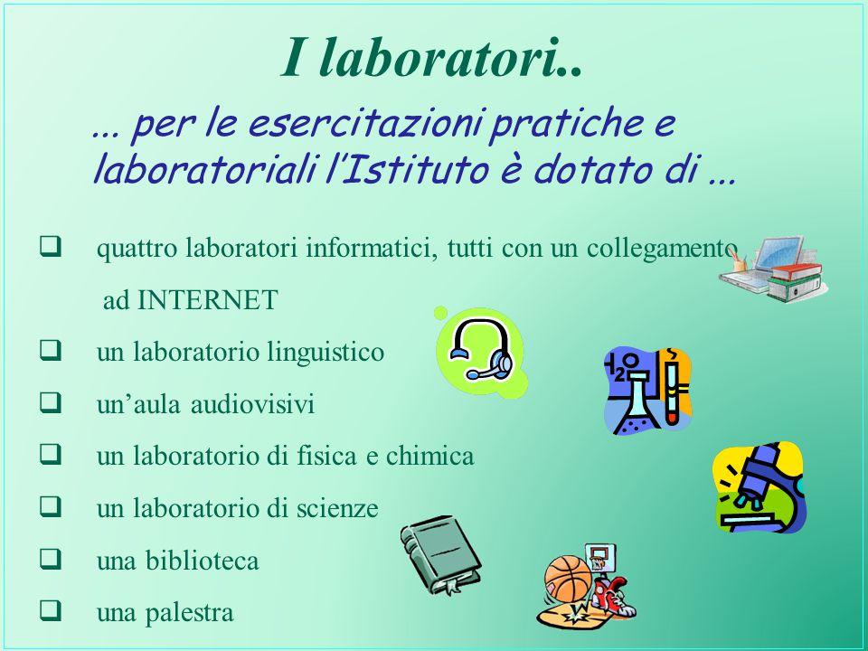 I laboratori.....per le esercitazioni pratiche e laboratoriali l'Istituto è dotato di...