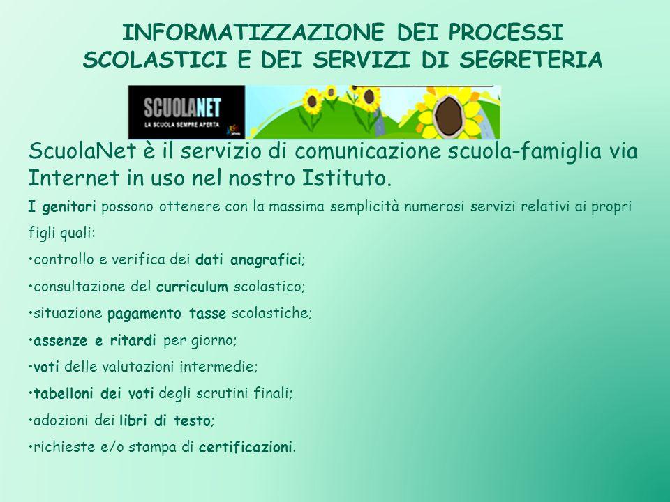 INFORMATIZZAZIONE DEI PROCESSI SCOLASTICI E DEI SERVIZI DI SEGRETERIA ScuolaNet è il servizio di comunicazione scuola-famiglia via Internet in uso nel nostro Istituto.