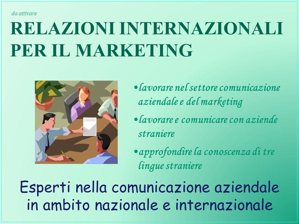 da attivare RELAZIONI INTERNAZIONALI PER IL MARKETING Esperti nella comunicazione aziendale in ambito nazionale e internazionale lavorare nel settore comunicazione aziendale e del marketing lavorare e comunicare con aziende straniere approfondire la conoscenza di tre lingue straniere