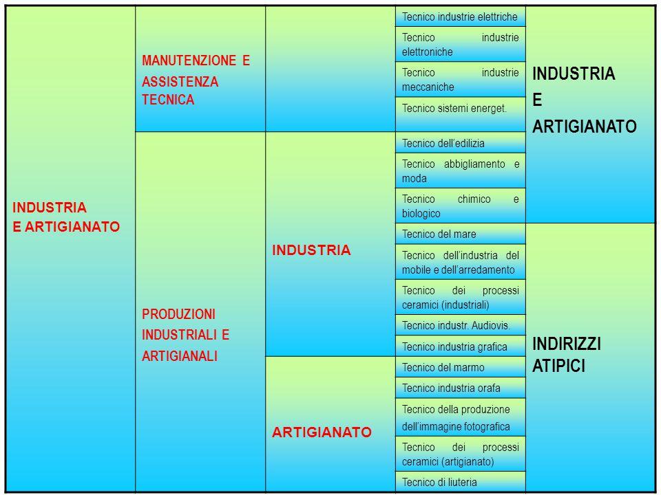 INDUSTRIA E ARTIGIANATO MANUTENZIONE E ASSISTENZA TECNICA Tecnico industrie elettriche INDUSTRIA E ARTIGIANATO Tecnico industrie elettroniche Tecnico