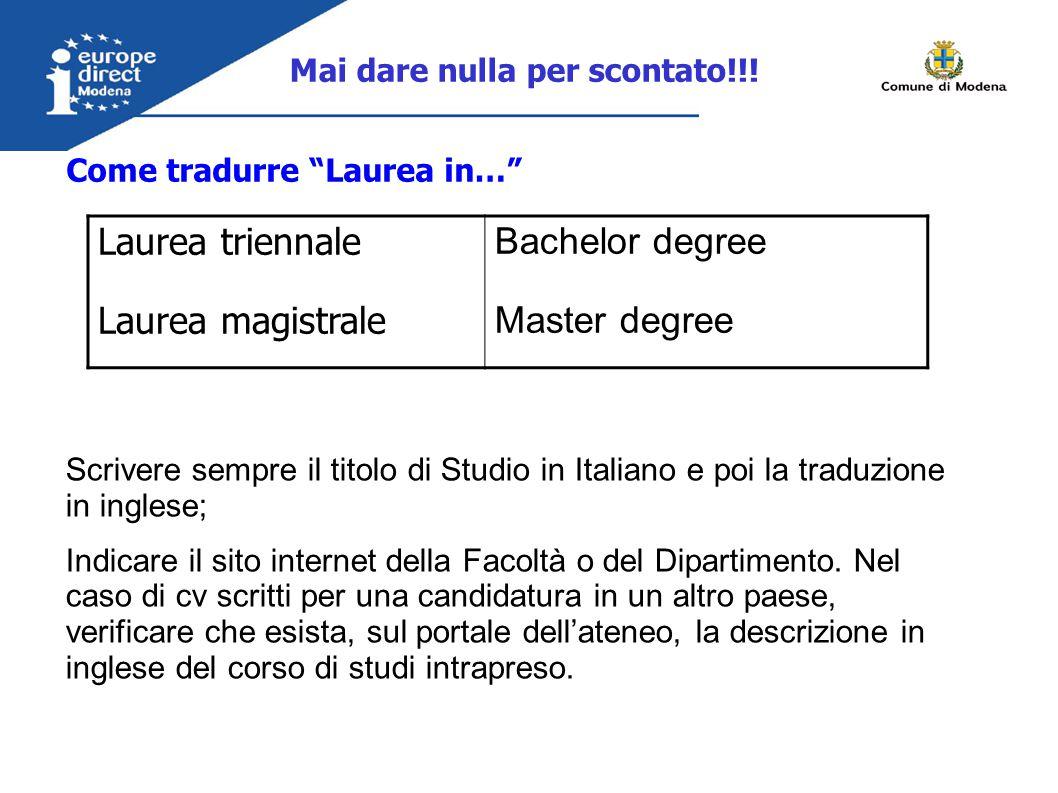 Come tradurre Laurea in… Mai dare nulla per scontato!!.