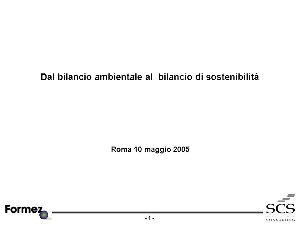 - 1 - Dal bilancio ambientale al bilancio di sostenibilità Roma 10 maggio 2005