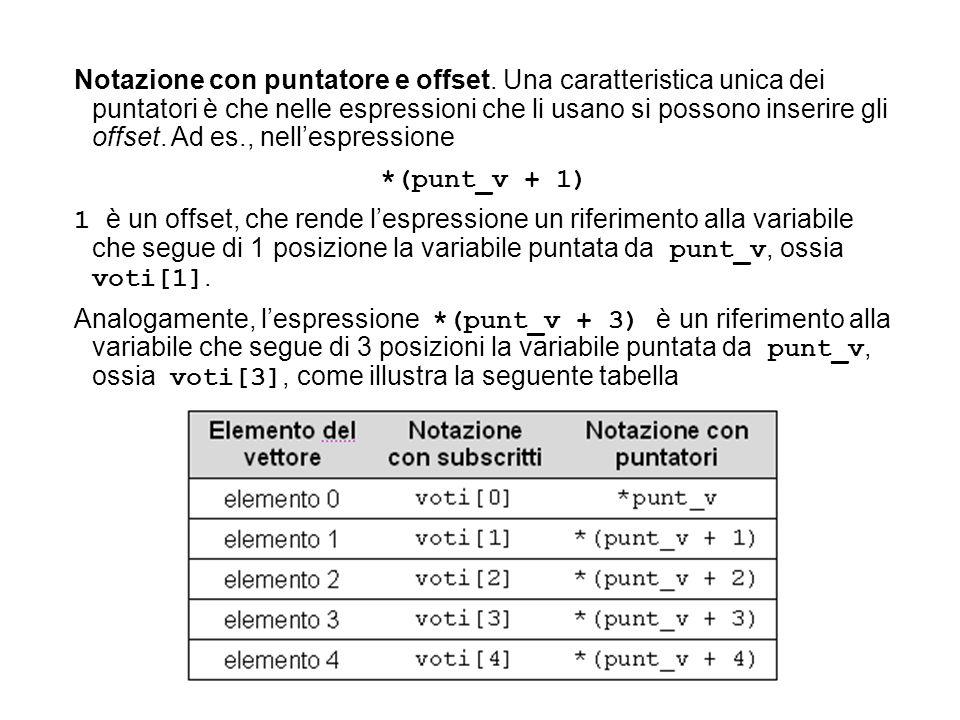 Notazione con puntatore e offset.