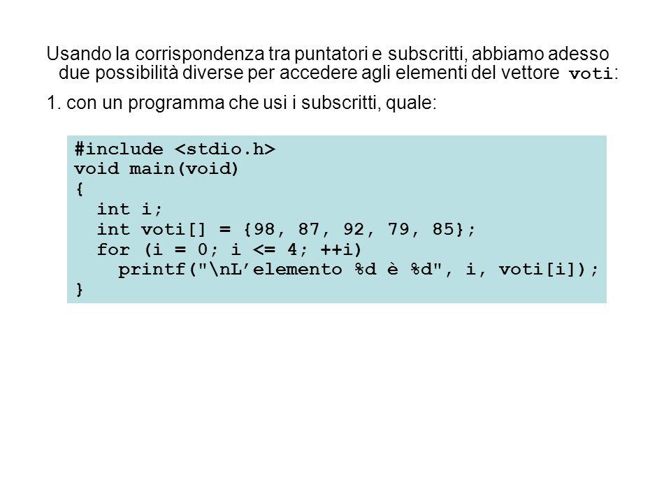#include void main(void) { int *punt_v; int i; int voti[] = {98, 87, 92, 79, 85}; punt_v = &voti[0]; for (i = 0; i <= 4; ++i) printf( \nL'elemento %d è %d , i, *(punt_v + i)); } Essi producono, ovviamente, la stessa uscita: 2.