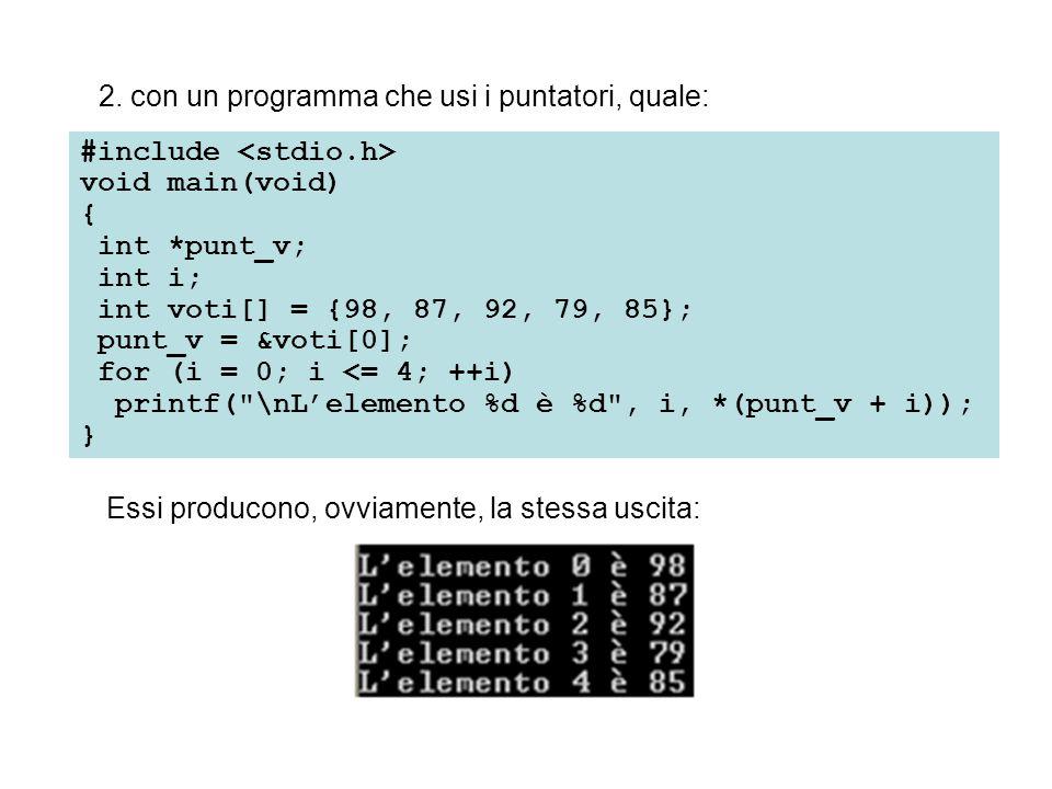 Il metodo usato nel programma precedente per accedere ai singoli elementi del vettore simula quello con cui un computer fa riferimento agli elementi del vettore.