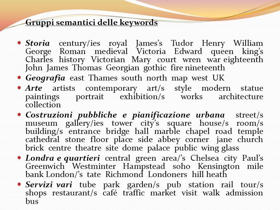 Gruppi semantici delle keywords Storia century/ies royal James's Tudor Henry William George Roman medieval Victoria Edward queen king's Charles histor