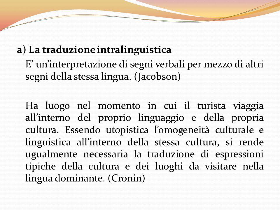 a) La traduzione intralinguistica E' un'interpretazione di segni verbali per mezzo di altri segni della stessa lingua. (Jacobson) Ha luogo nel momento