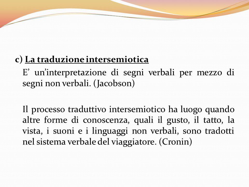 c) La traduzione intersemiotica E' un'interpretazione di segni verbali per mezzo di segni non verbali. (Jacobson) Il processo traduttivo intersemiotic