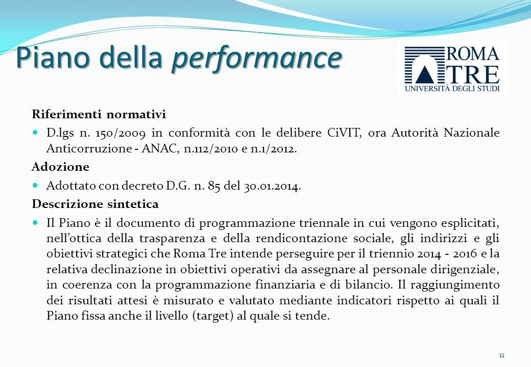 La Relazione sulla performance Riferimenti normativi D.lgs n.
