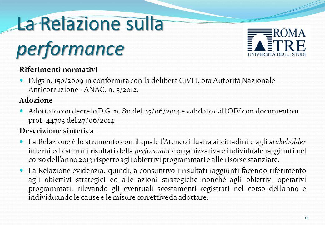 La Relazione sul funzionamento complessivo del Sistema Riferimenti normativi Documento redatto dall'OIV in conformità alle delibere ANAC n.
