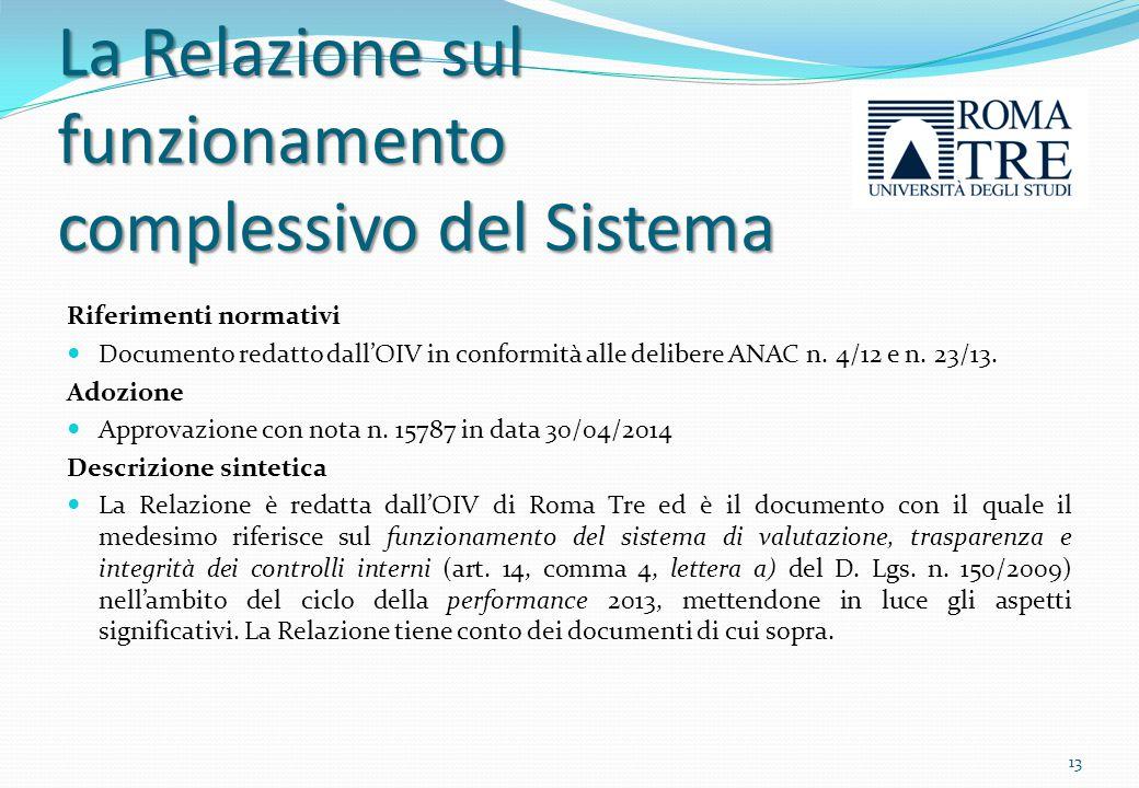 La Relazione sul funzionamento complessivo del Sistema Riferimenti normativi Documento redatto dall'OIV in conformità alle delibere ANAC n. 4/12 e n.
