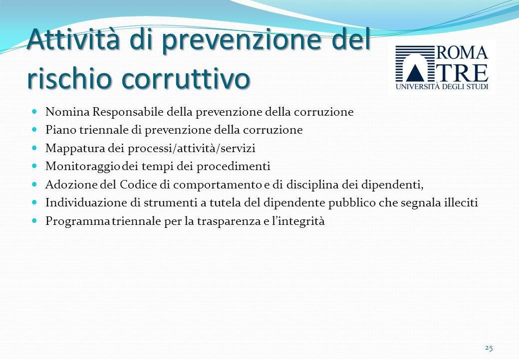 Attività di prevenzione del rischio corruttivo Il Direttore Generale, è nominato Responsabile della prevenzione della corruzione con delibera del Consiglio di Amministrazione in data 26.03.2013.