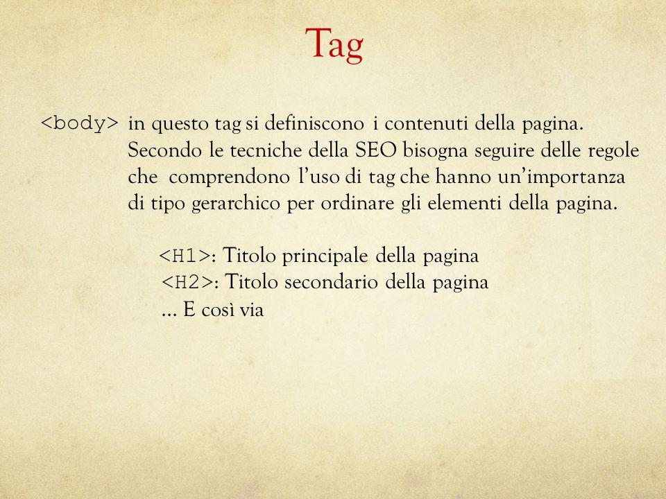Tag in questo tag si definiscono i contenuti della pagina.