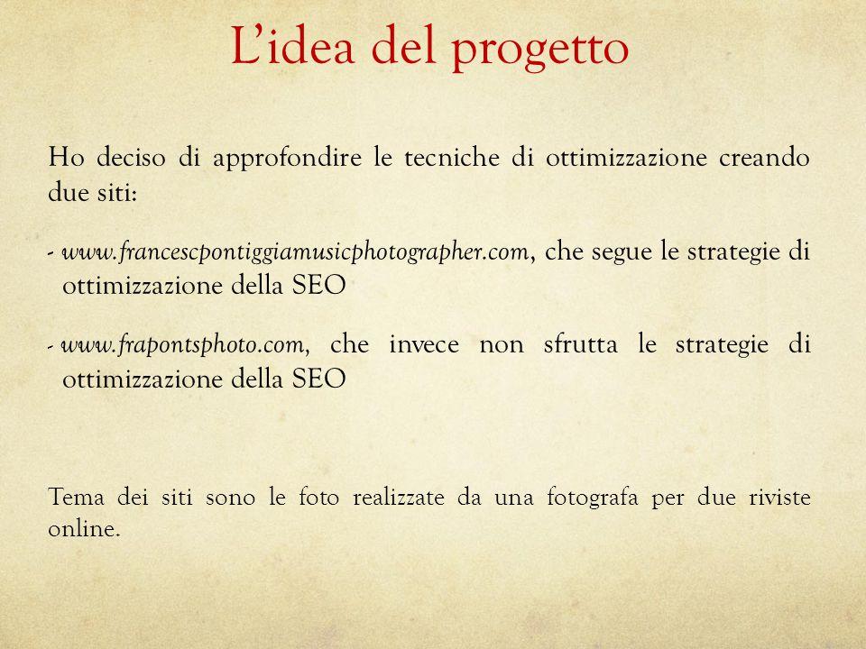 L'idea del progetto Ho deciso di approfondire le tecniche di ottimizzazione creando due siti: - www.francescpontiggiamusicphotographer.com, che segue