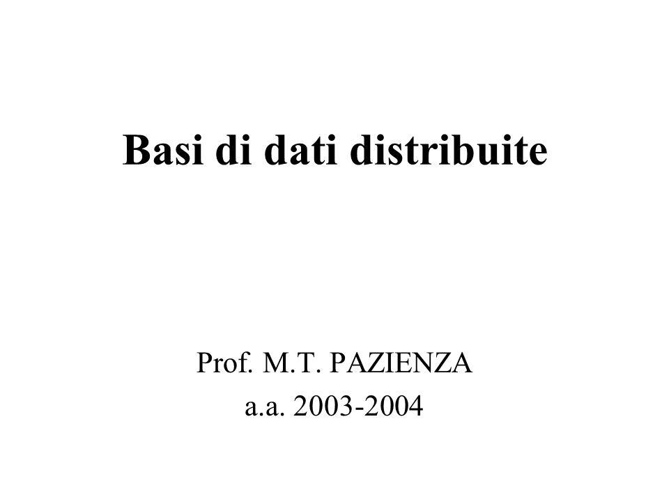 Basi di dati distribuite Prof. M.T. PAZIENZA a.a. 2003-2004