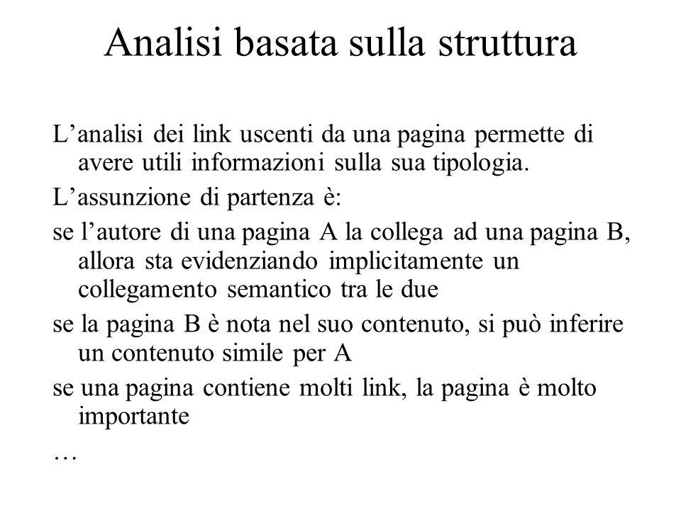 Analisi basata sul contenuto Il contenuto di una pagina viene analizzato per indurre informazioni e verificarne l'interesse per la ricerca.