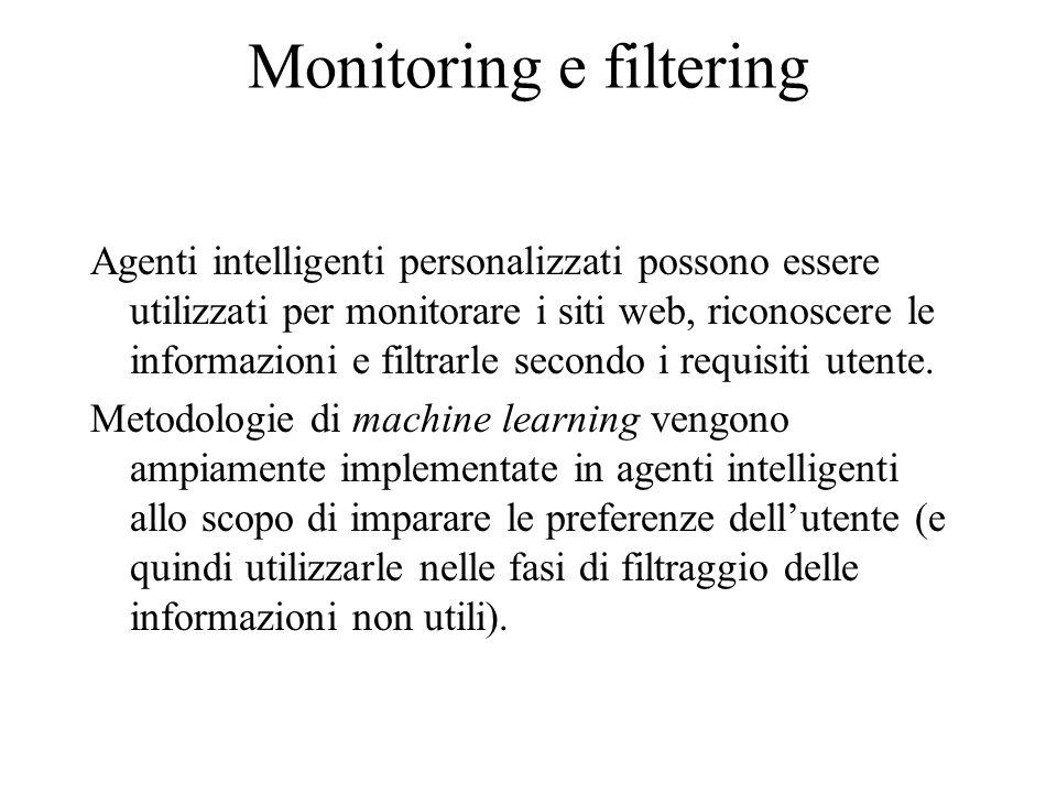 Monitoring e filtering A causa della dinamicità del web è importante monitorare i siti per riconoscere cambiamenti e filtrare le informazioni indesiderate.