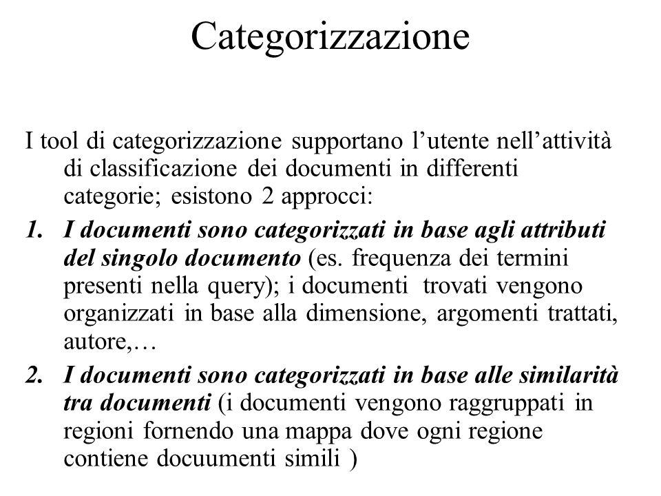 Indicizzazione I documenti testuali vengono indicizzati per migliorare l'attività di ricerca Algoritmi per l'indicizzazione automatica sono comunemente usati per l'identificazione di concetti all'interno di testi.