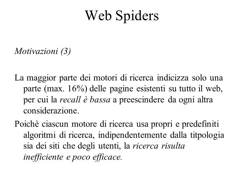 Web Spiders Motivazioni (3) La maggior parte dei motori di ricerca indicizza solo una parte (max.