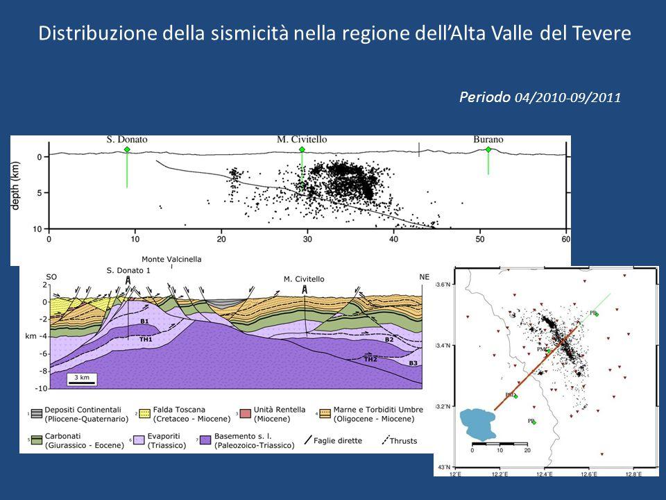 Periodo 04/2010-09/2011 Distribuzione della sismicità nella regione dell'Alta Valle del Tevere