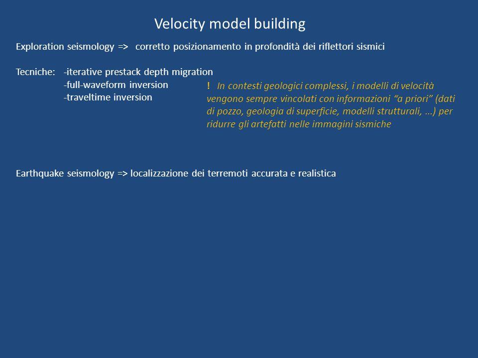 Velocity model building Exploration seismology => corretto posizionamento in profondità dei riflettori sismici Tecniche: -iterative prestack depth migration -full-waveform inversion -traveltime inversion Earthquake seismology => localizzazione dei terremoti accurata e realistica .