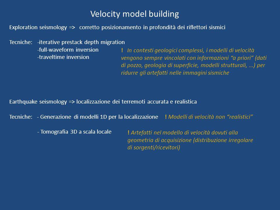 Velocity model building Exploration seismology => corretto posizionamento in profondità dei riflettori sismici Tecniche: -iterative prestack depth migration -full-waveform inversion -traveltime inversion Earthquake seismology => localizzazione dei terremoti accurata e realistica Tecniche: - Generazione di modelli 1D per la localizzazione - Tomografia 3D a scala locale .