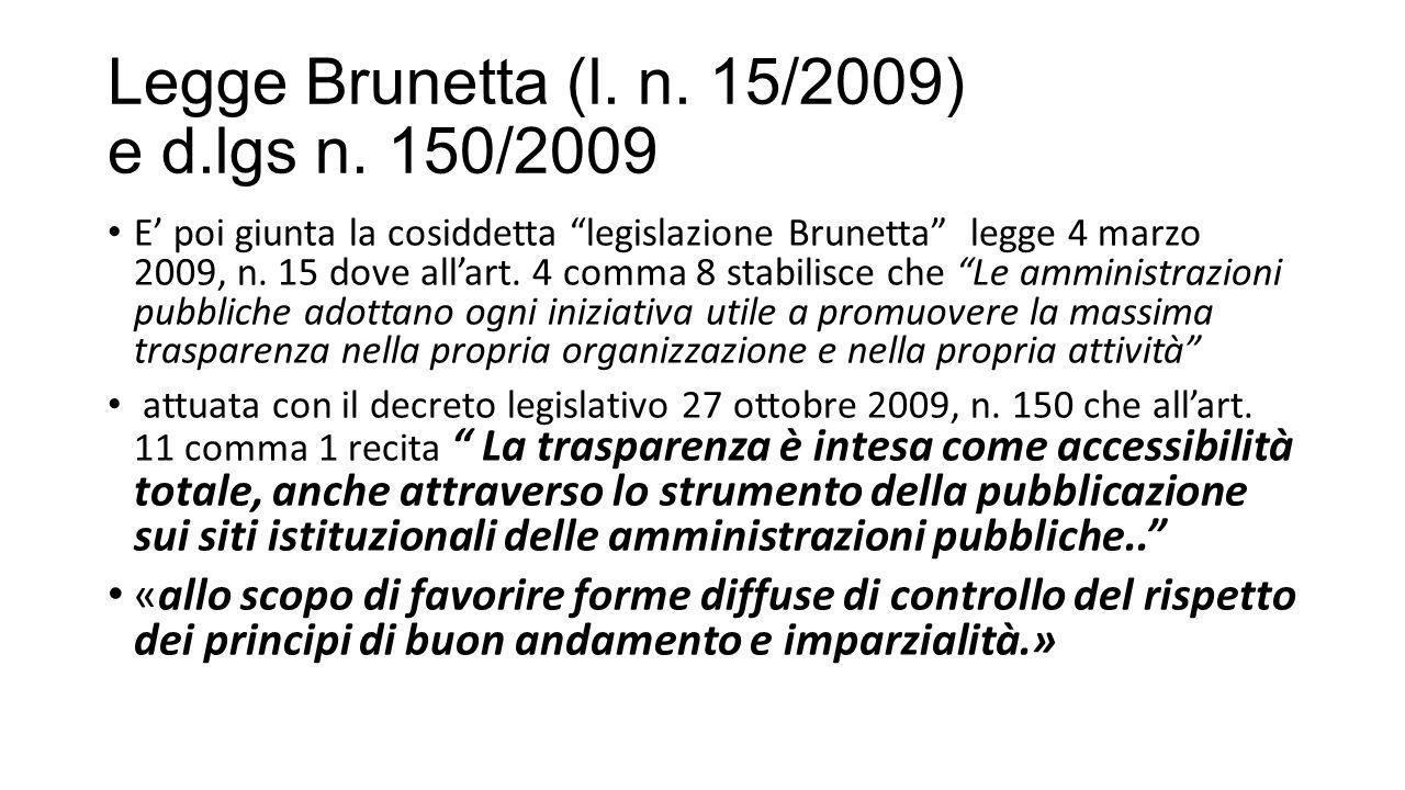 Legge Brunetta (l.n. 15/2009) e d.lgs n.