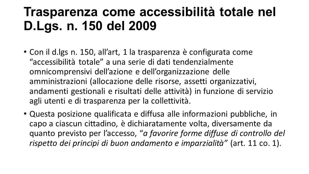 Trasparenza come accessibilità totale nel D.Lgs.n.