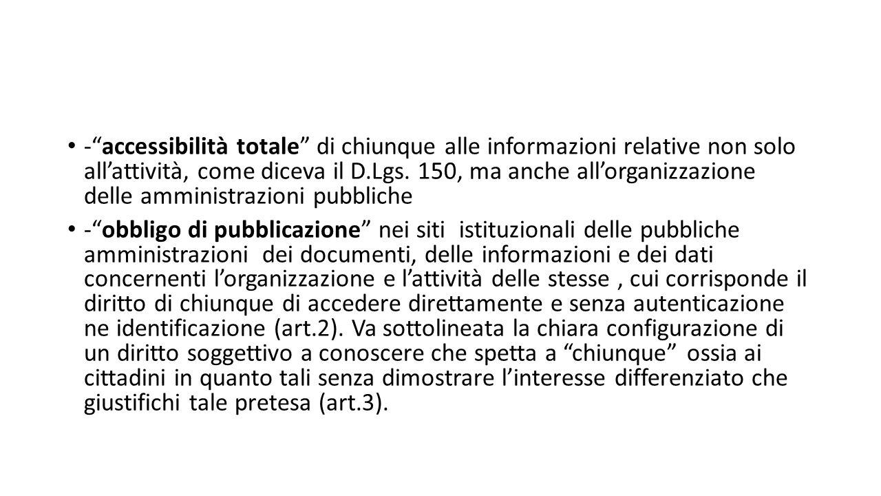 - accessibilità totale di chiunque alle informazioni relative non solo all'attività, come diceva il D.Lgs.