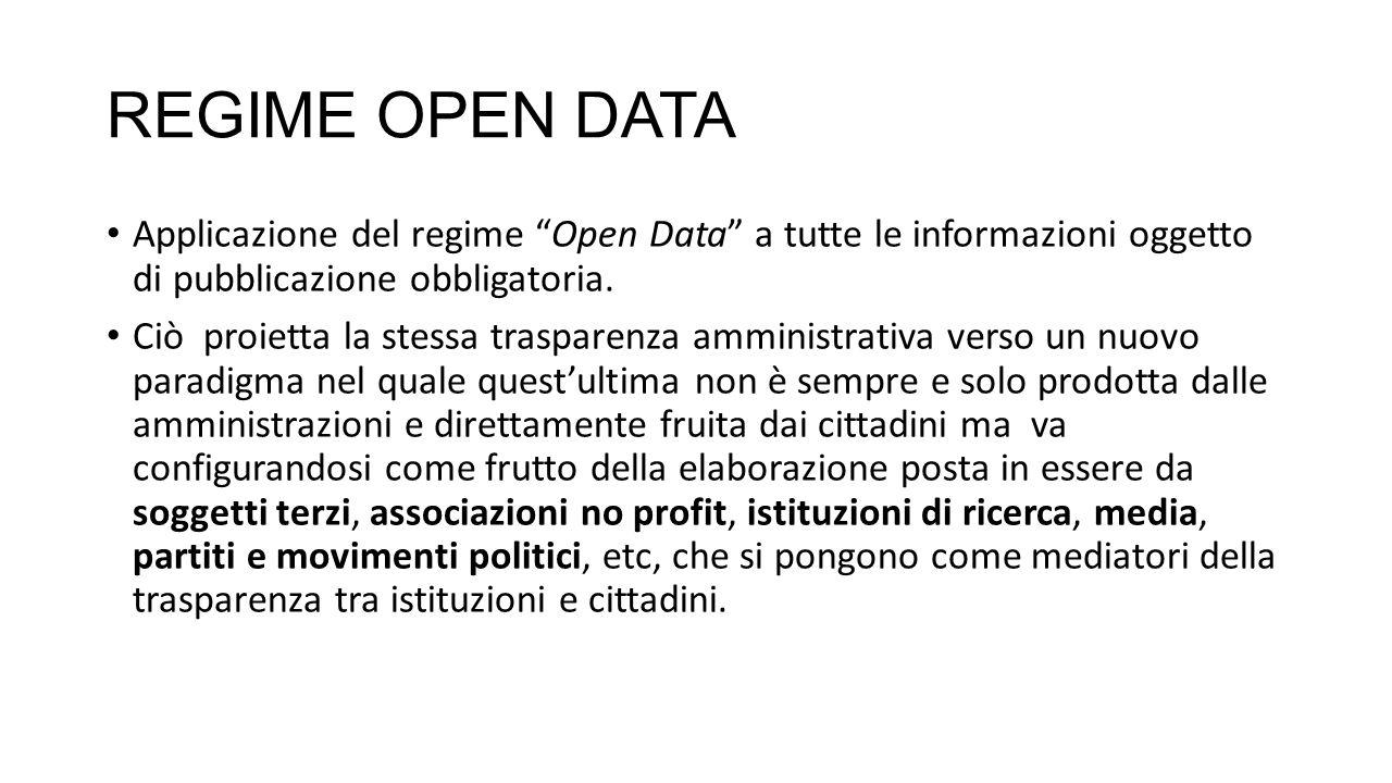 REGIME OPEN DATA Applicazione del regime Open Data a tutte le informazioni oggetto di pubblicazione obbligatoria.
