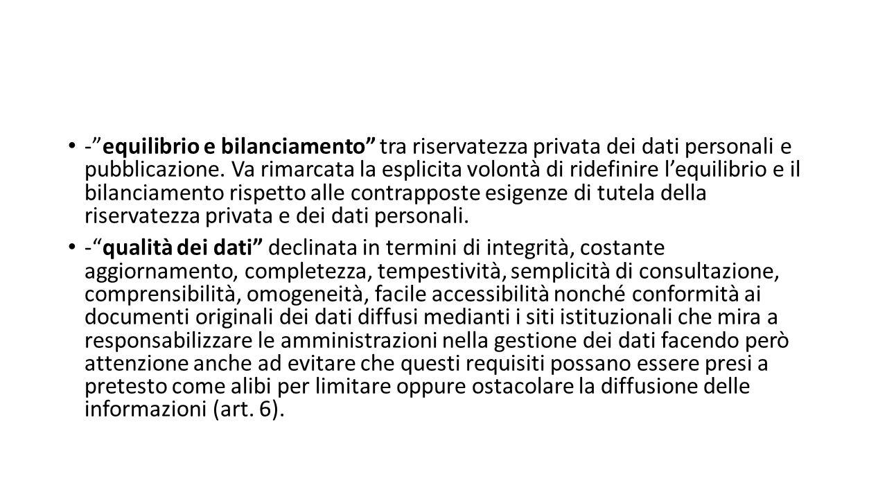 - equilibrio e bilanciamento tra riservatezza privata dei dati personali e pubblicazione.