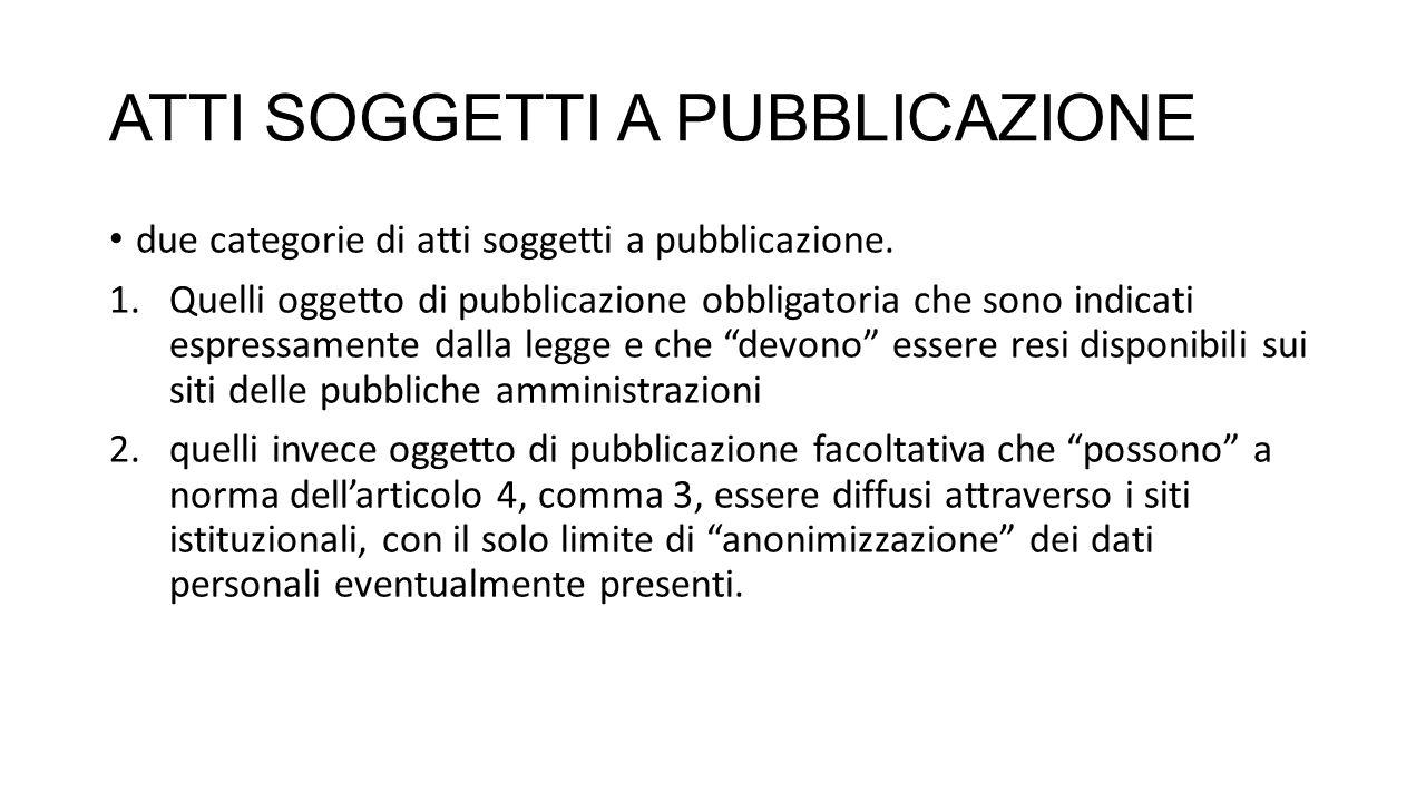 ATTI SOGGETTI A PUBBLICAZIONE due categorie di atti soggetti a pubblicazione.