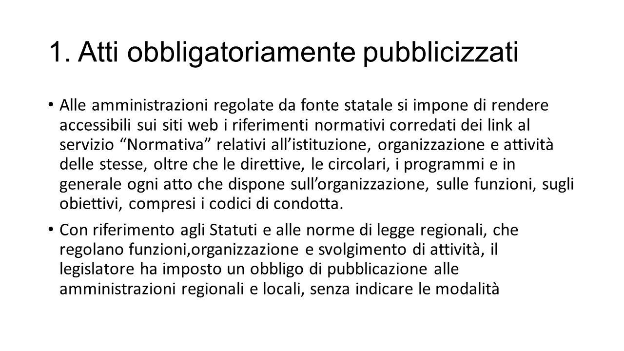1. Atti obbligatoriamente pubblicizzati Alle amministrazioni regolate da fonte statale si impone di rendere accessibili sui siti web i riferimenti nor