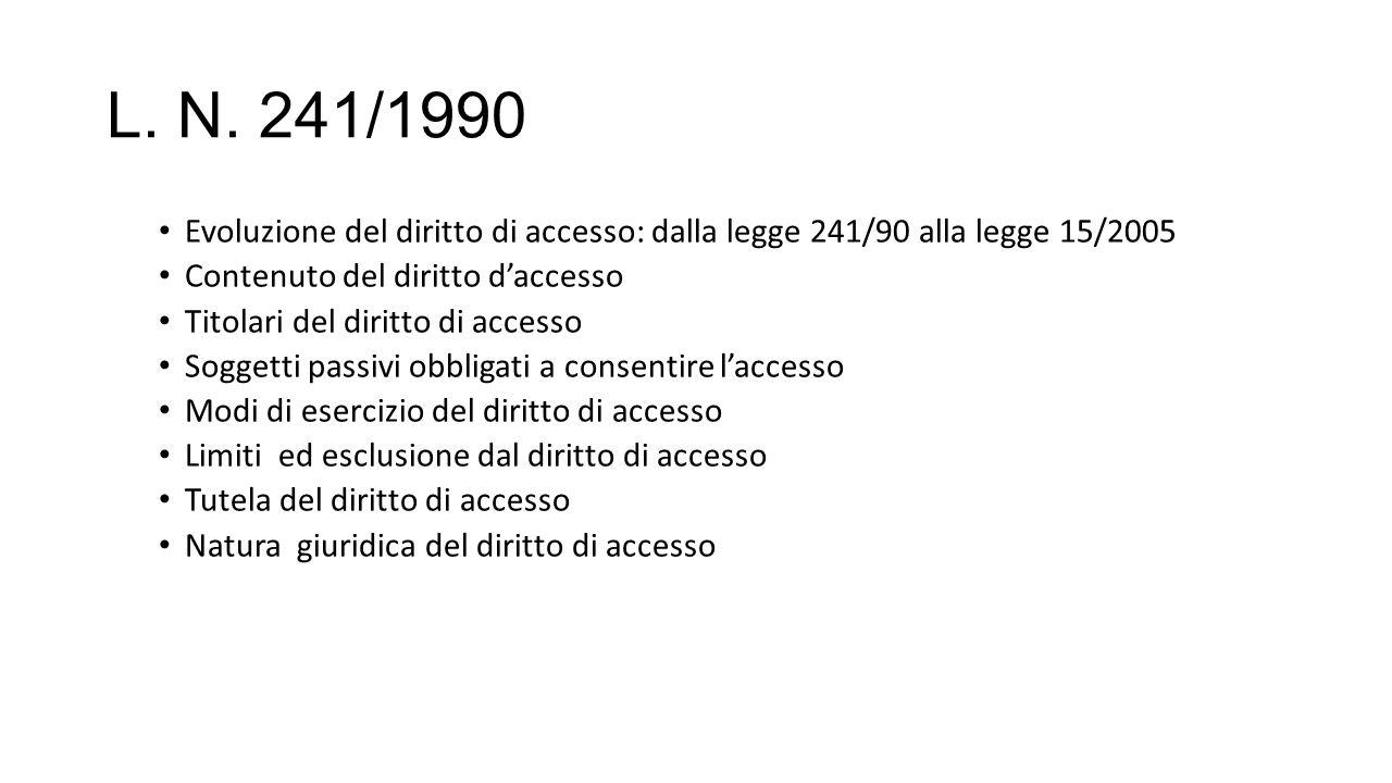 L. N. 241/1990 Evoluzione del diritto di accesso: dalla legge 241/90 alla legge 15/2005 Contenuto del diritto d'accesso Titolari del diritto di access